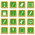 Design and drawing tools icons set green