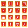 Design and drawing tools icons set red