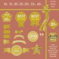 Design Element Gold labels on best seller set concept Royalty Free Stock Photo