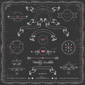 Design elements chalkboard wedding invitation vector cute vintage ribbons and frame Stock Photo