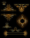 Design elements in gold Royalty Free Stock Photo