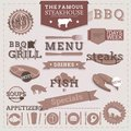 Design elements and labels vintage bbq grill steakhouse menu Stock Photo