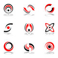 Design elements in red-and-black colors #4. Stock Image