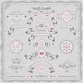Design elements wedding invitation vector cute vintage ribbons and frame Stock Photo