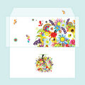 Design of envelope with floral tree Stock Image