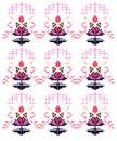 Design exotic Ornaments on white. Pink aztecs