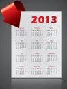 Design för 2013 kalender med den böjande pilen Arkivfoton