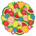 I love Summer. Design for summer clothes. Summer background with tropical fruits and berries. Watermelon, cherry,