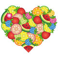 I love Summer. Heart-shaped design for clothes. Summer background with tropical fruits and berries. Watermelon, cherry,