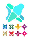 Design flower logo element colorful abstract pattern icon set Stock Image