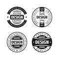 Design graphic badge logo vector set in retro vintage style. Premium quality, limited edition. Emblem template collection. Royalty Free Stock Photo