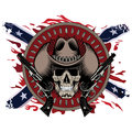 Design Gunfighter. Skull in cowboy hat, two crossed gun and bullets, on the backdrop of the American Confederate flag Royalty Free Stock Photo