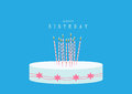 Design of happy birthday card with birthday cake on blue backgrounds vector illustrations Royalty Free Stock Photo