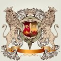 Design with heraldic elements and lions in vintage style vector illustration shield armor crown for Stock Image