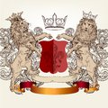 Design with heraldic elements and lions in vintage style vector illustration shield armor crown for Stock Photos