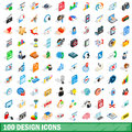 100 design icons set, isometric 3d style