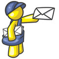 Design Mascot Delivering Mail Royalty Free Stock Photography
