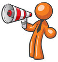 Design Mascot Megaphone. Royalty Free Stock Photo
