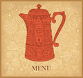 Design of menu with coffeepot Stock Photo