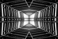 Design of metal structure similar to spaceship interior, perspective view. black and white photo. Royalty Free Stock Photo
