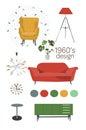design 1960. mid century modern furniture. vector elements set.