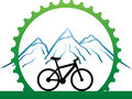 Design for mountain bikers badge with green mechanic part circle as association healthy life Stock Photo