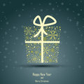 Design of new year and merry christmas box present wrapped with golden ribbon Stock Images