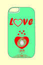 Design phone cover with hearts for young lovers Royalty Free Stock Photo