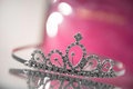 Design princess crown on glass cupboard closeup Stock Image