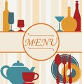 Design of restaurant menu background with dishware and drinks Royalty Free Stock Image