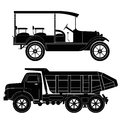 Design of retro and modern car silhouettes automo automobile vehicle isolated Stock Photo