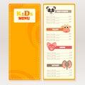 Design sample kids menu for cafes, restaurants.