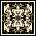 Design scarf with leopard skin and golden baroque elements. Vector.
