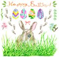 Design set with Easter rabbit in grass, hand decorated eggs, spring flowers