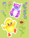 Design set with funny pets and flowers Royalty Free Stock Photo