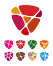 Design shield heart logo element colorful abstract pattern icon set you can use jewelry shop leisure club other commercial image Stock Images