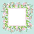 Design spring template. Card with square frame and herb on blue background. Abstract spring plants, leaves and flowers.