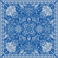 Design for square pocket, shawl, textile. Paisley floral pattern Royalty Free Stock Photo