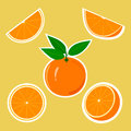 Design stickers with juicy orange for the company in vector format Royalty Free Stock Photos