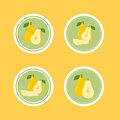 Design stickers with ripe juicy pear for the company in vector format Stock Photos