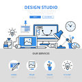 Design studio workplace concept flat line art vector icons