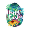Design template banner for Happy Easter. Silhouettes of egg with floral, herb, plant decoration. Card with logo