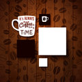 Design template for your coffee shop burnt wooden background with beans vector image Royalty Free Stock Photography