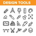 Design Tools Vector Thin Line Icons Set
