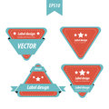 Design Triangle label red and blue color set Royalty Free Stock Photo