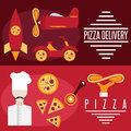 Design vector banners with pizza theme Royalty Free Stock Photo