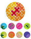 Design vector jigsaw circular logo element colorful abstract pattern icon set you can use in the social media mobile community Royalty Free Stock Image
