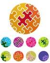 Design vector jigsaw circular logo element