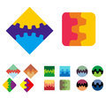 Design vector square logo element colorful abstract gears pattern cute icon set you can use the machinery app factories games Royalty Free Stock Photos