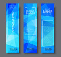 Design vertical banners with polygonal blue background and a fr